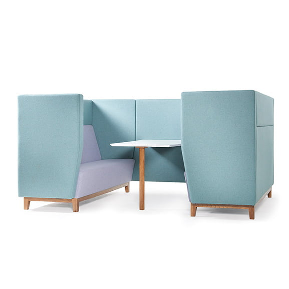 Blue dams encore high back sofa booth with wooden legs and white table