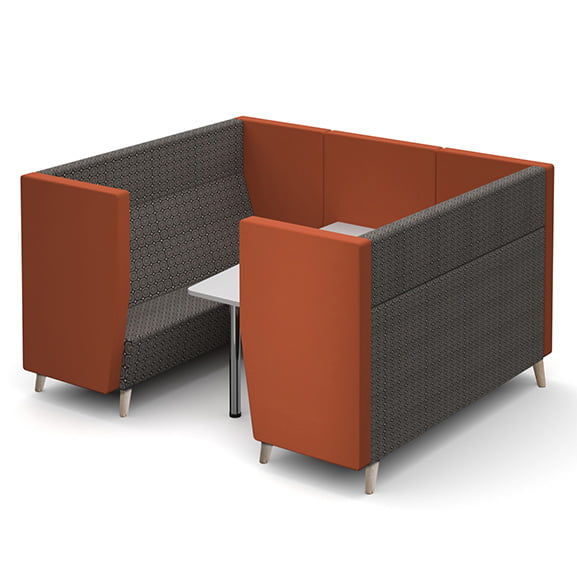 Wooden legs dams encore high back sofa booth six seater