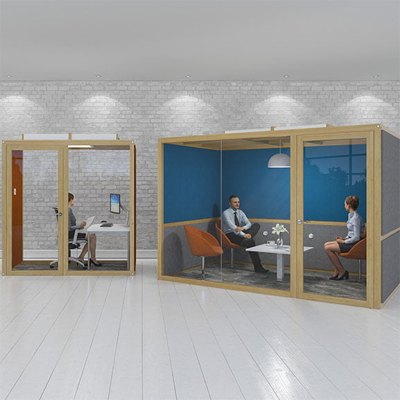 Collaborative work spaces hush hubs office pods dams