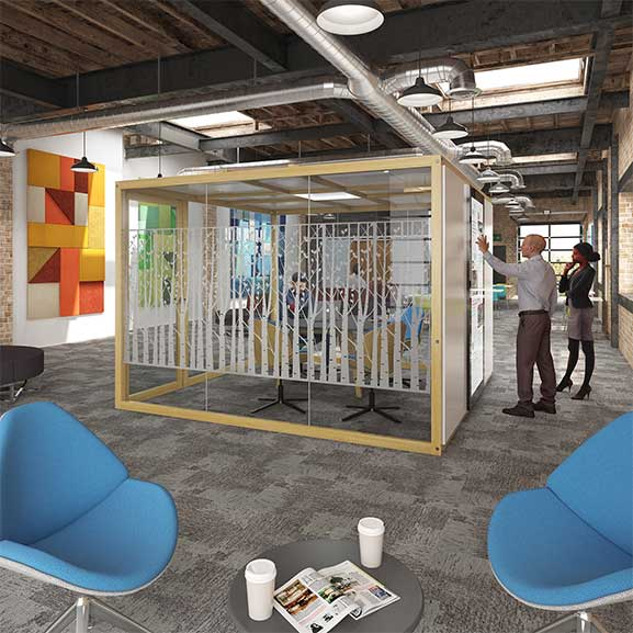 Hush hub for meetings dams office pod for collaborative work spaces