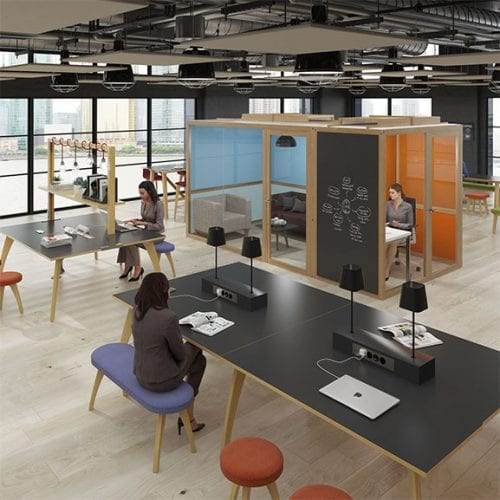 Dams hush hubs office pod in situe perfect for collaborative office spaces