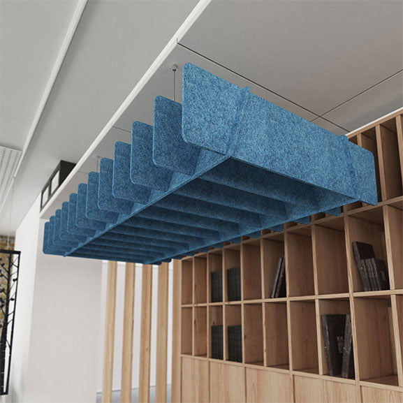 Blue Dams Scales Suspended Acoustic Panel For Work Place