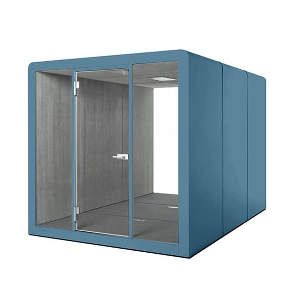 Silen 8 person booth glass doors dams