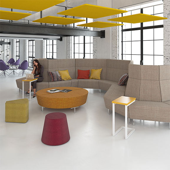 Dams Tiles Suspended Acoustic Panel In Yellow for Office Spaces