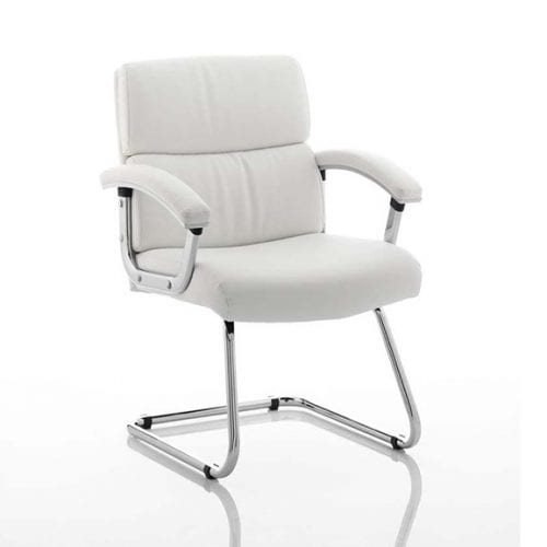 Desire White leather office meeting chair with arms