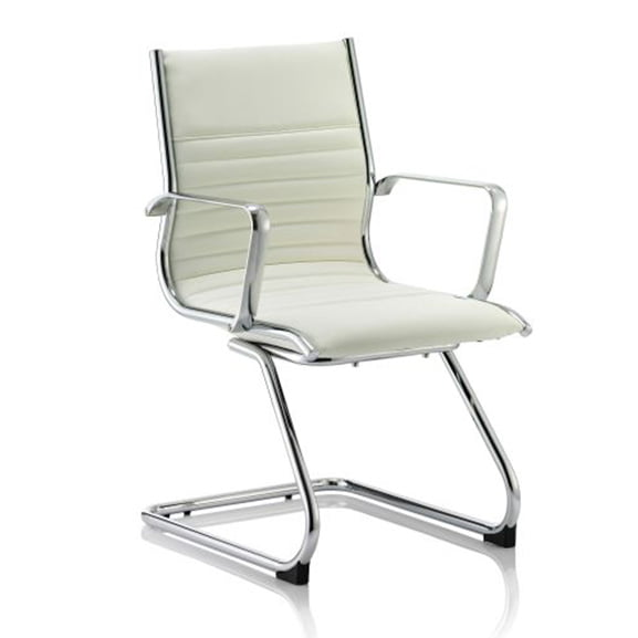 Ritz white leather cantilever frame office meeting chair