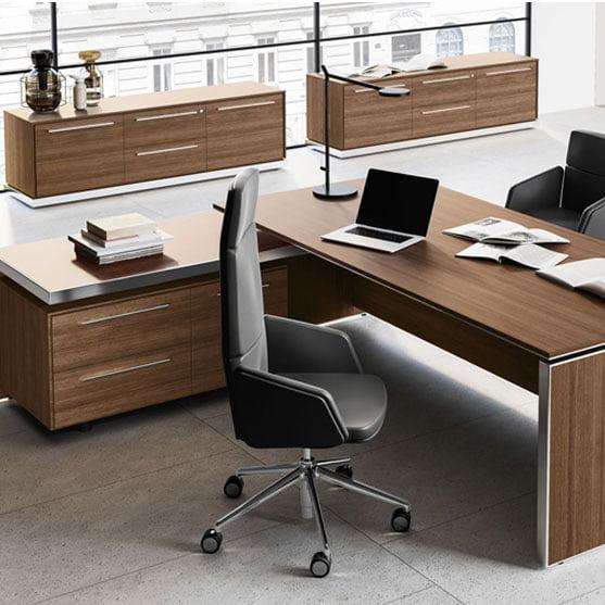 EOS Executive Desk shown with an executive office chair