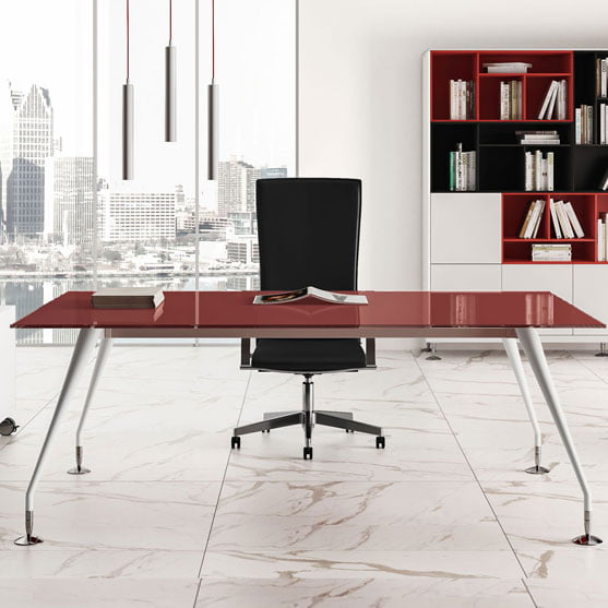 Enosi Evo Executive Desk in White Glass