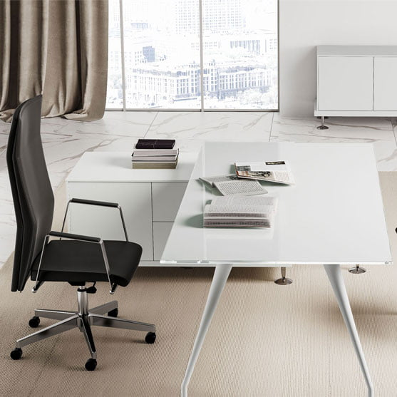 Enosi Evo Executive Glass White Desk with credenza