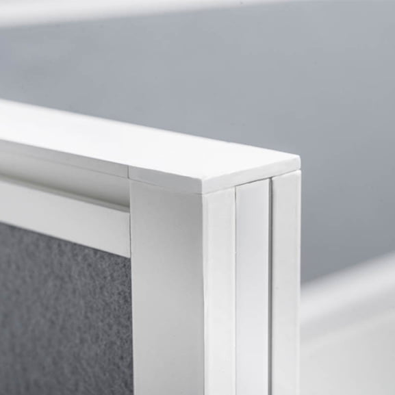 Border Desk Mounted Screen in Grey Close Up of Corner Trim in White