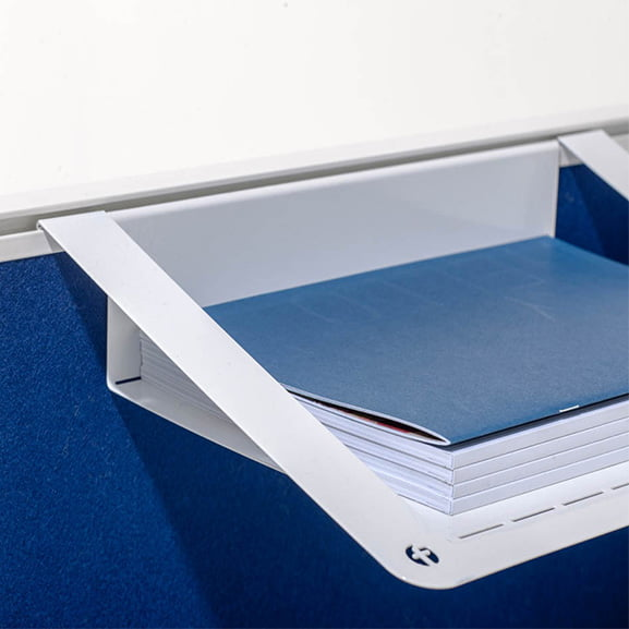 Era Border Desk Mounted Screen in Blue with Hanging Filing System