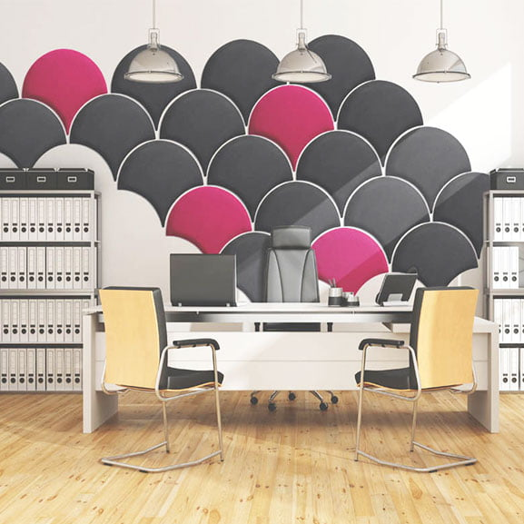 era eden wall mounted acoustic panel in grey, black and grey in situe