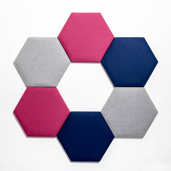 hexagon eden wall mounted acoustic panel era in blue, grey and pink