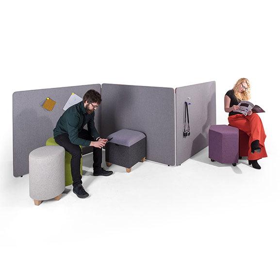 Era Gemini Floor Standing Screen in Situe with Chairs in Grey