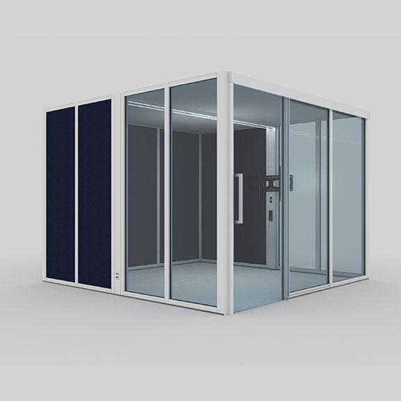 Era hoozone office pod with glass and fabric panels