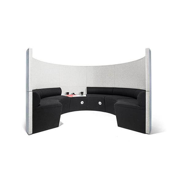 Era Nautilus Curved Screen Seating Area in Black and White