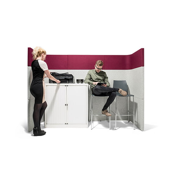 Era Nautilus Curved Screen Seating Are in Purple and White