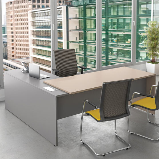 I Executive Straight Desk shown with mesh chairs