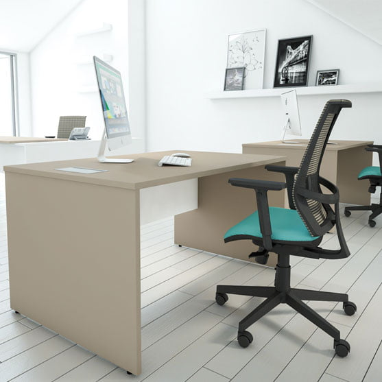I Executive Straight Office Desks shown with Office Mesh Chairs