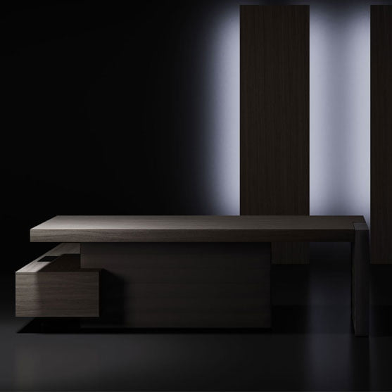 Jera Executive Desk shown in a dark office