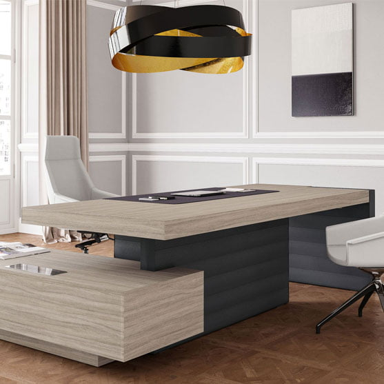 Jera Executive Desk in two colours shown with a white office chair