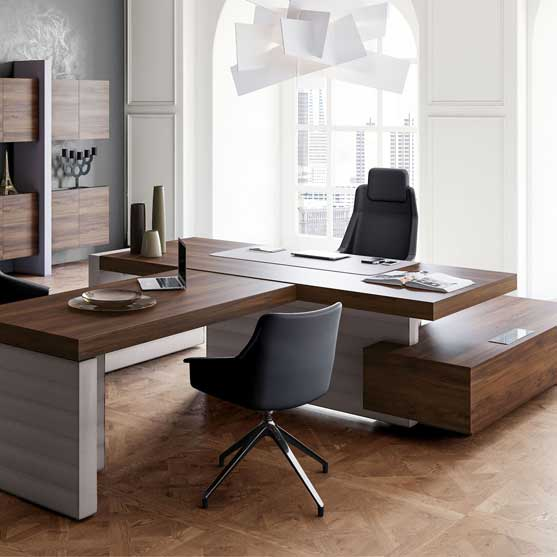 Jera Executive Desk shown with black executive chairs