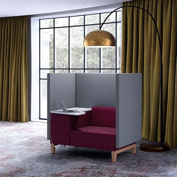 Pledge fence high back acoustic seating in purple and grey with table