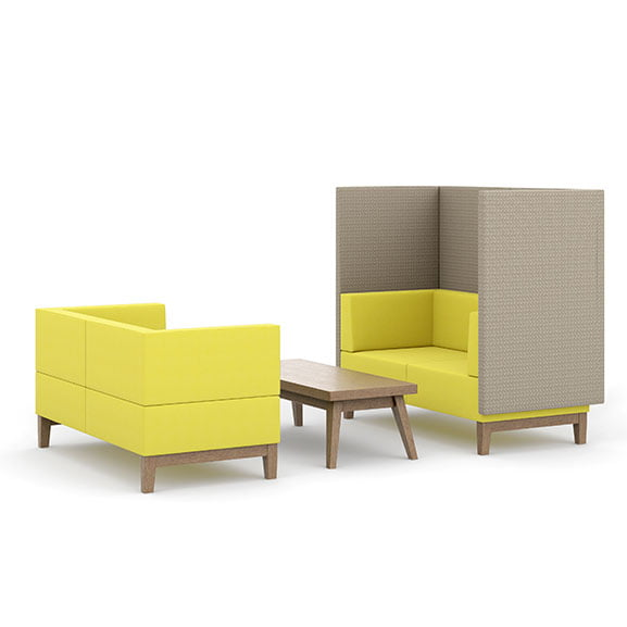 Pledge fence high back acoustic seating in yellow and grey with wooden coffee table