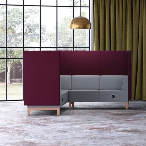 Pledge fence high back corner acoustic seating in purple and grey with wooden legs