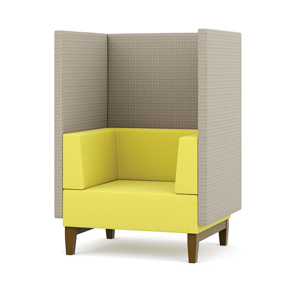 Pledge fence single seat high back acoustic seating and sofa in yellow and grey with wooden legs