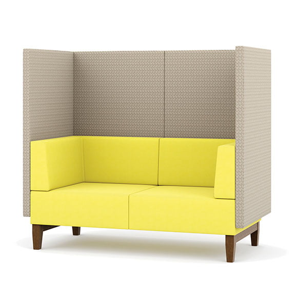 Pledge fence high back sofa double seat in yellow and grey with wooden legs