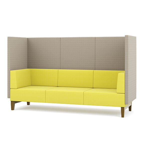 Three seater sofa fence high back acoustic seating pledge in yellow and grey