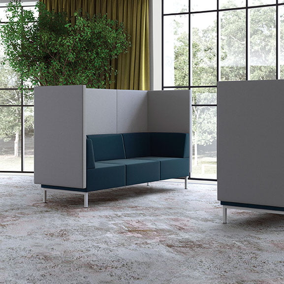 Grey and blue pledge fence high back sofa with metal legs