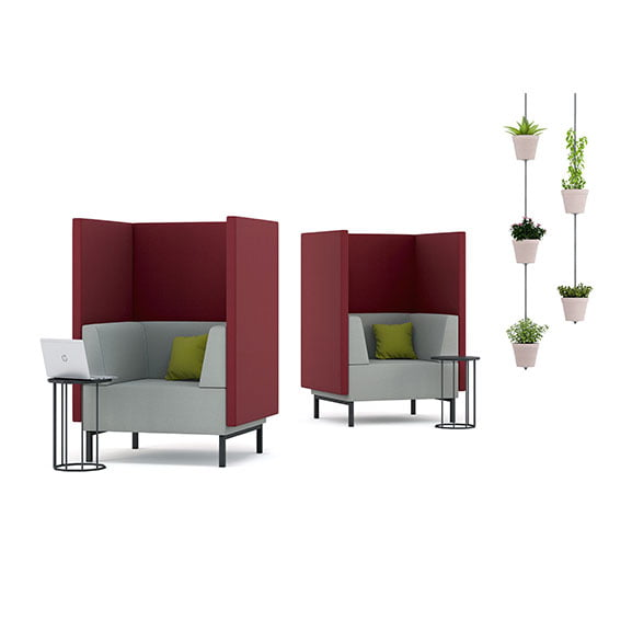 Single seat high back acoustic seat fence pledge grey and purple with table