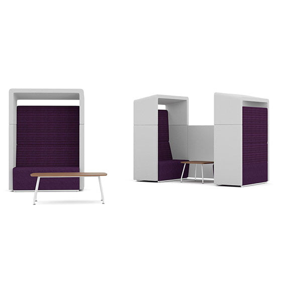 pledge fifteen high back acoustic seating purple and white