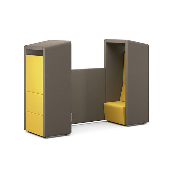 Pledge fifteen high back booth in yellow and grey
