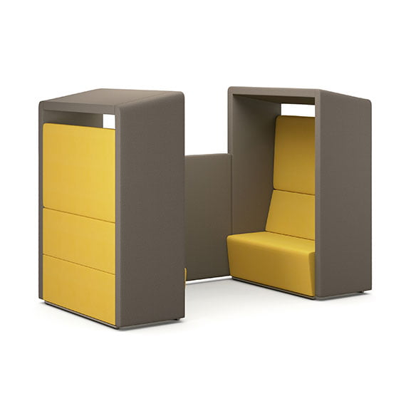 Pledge fifteen high back booth and acoustic seating double seating in yellow and grey