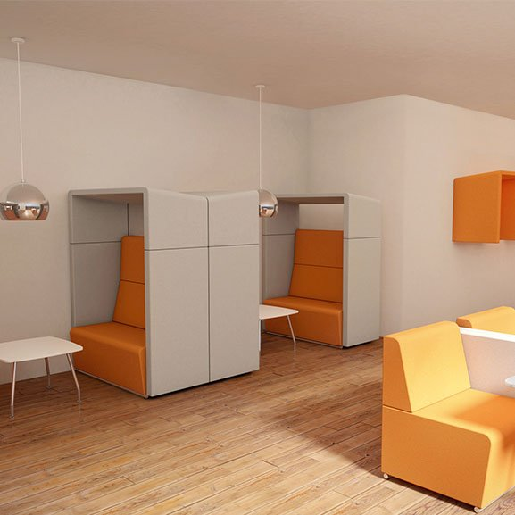 Orange and light grey pledge fifteen high back acoustic seating and booth