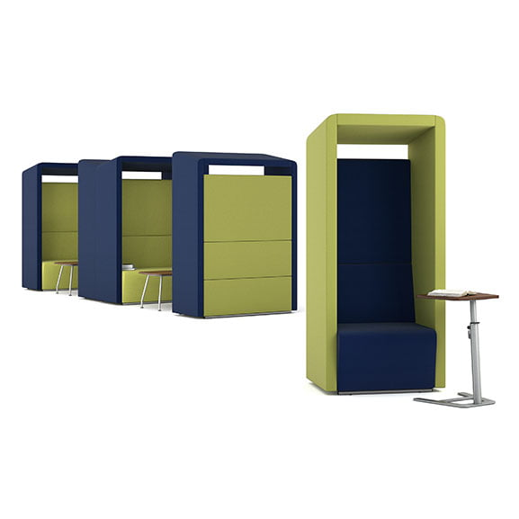 Blue and green fifteen high back acoustic seating