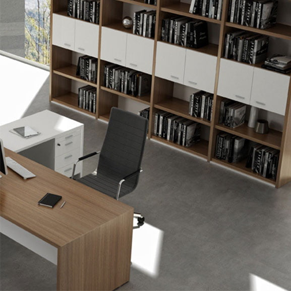 T45 Executive Desk shown with a bookcase