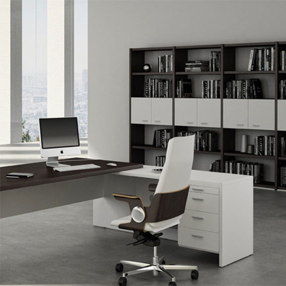 T45 Executive Desk with drawers shown with an executive chair and storage