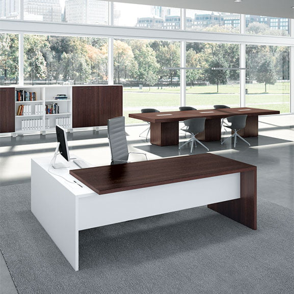 T45 Straight Desk in Wenge shown with storage