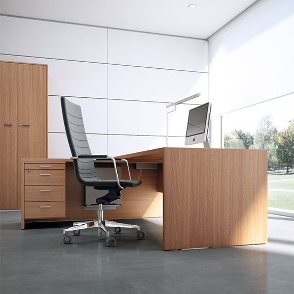 T45 Executive Desk shown with an executive chair