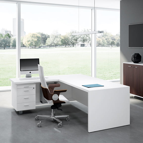 T45 Executive Desk in White with drawers