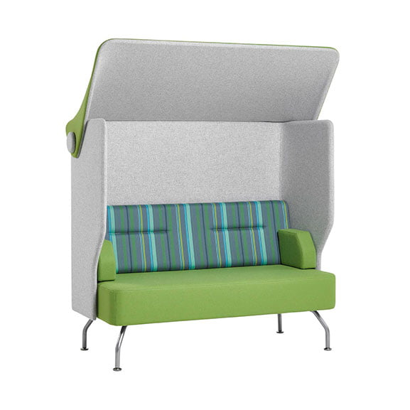 Verco Brix Up High Back Acoustic Seating in green and blue