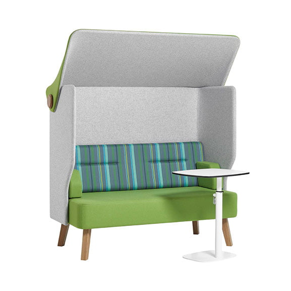 Verco Brix Up High Back Office Sofa with Laptop Table in Green and Blue