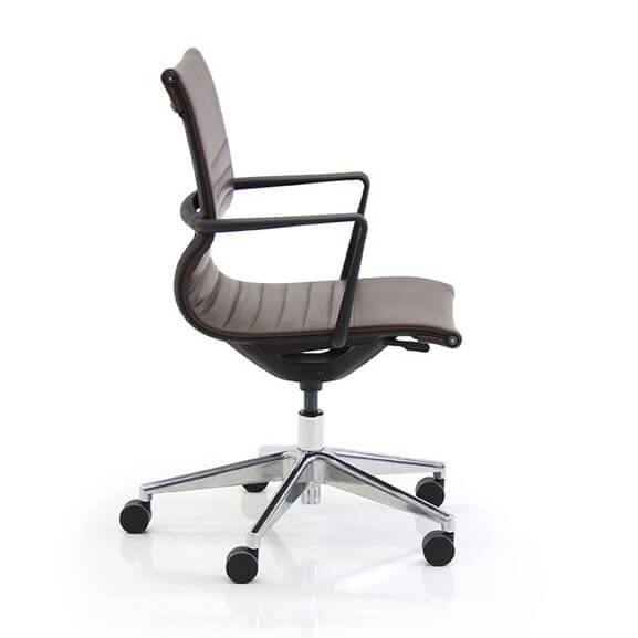 Side view verco flux brown faux leather with black armrests and chrome base