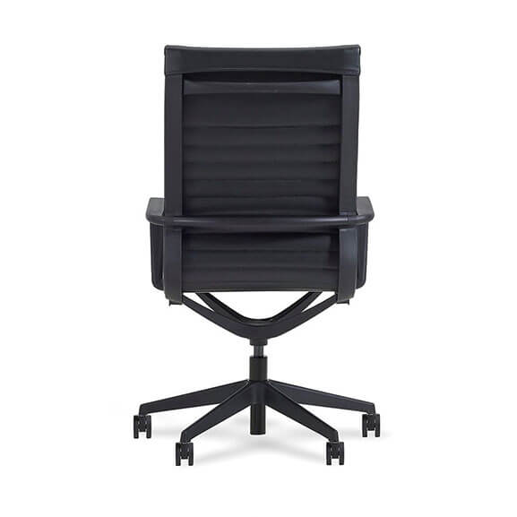 Back of flux leather chair, ribbed black leather