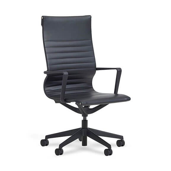 Verco flux leather chair with black ribbed faux leather and back nylon base and armrests