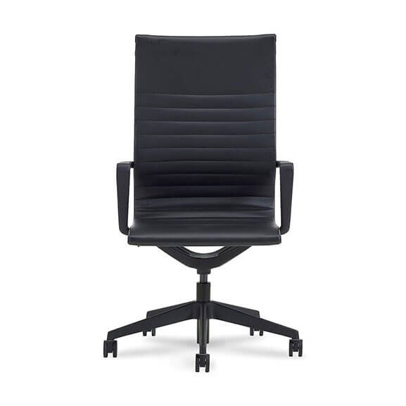 High back black faux leather ribbed seat and back with black nylon spider base and armrests verco